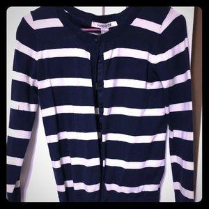 navy & white stripe nautical style cardigan